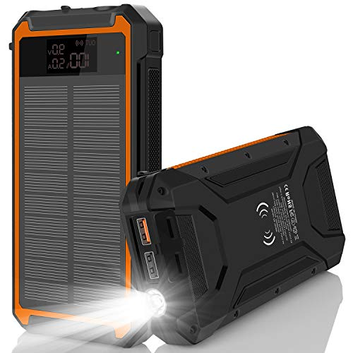 PowerbankSolar 30000mah, Powerbank USB C-Handy Powerbank iPhone ExternerAkku SolarLadegerät Outdoors Solar Powerbank -TragbaresLadegerät mit 2 USB Ports Wasserfest für Samsung iPad Tablets