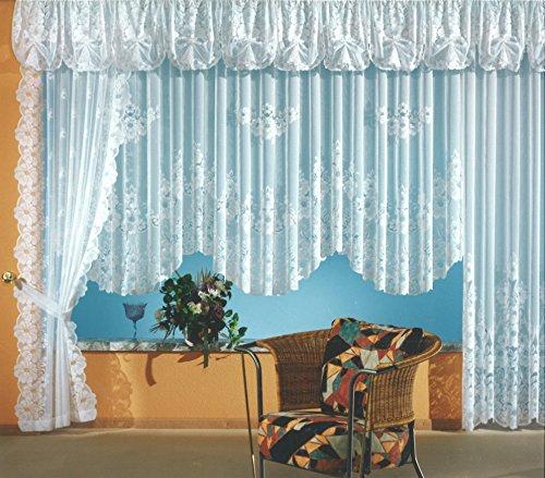 Fashion&Joy - Gardine Blumenstore aus edlem Jacquard in weiß als Langstore HxB 225x300 cm mit Kräuselband Vorhang Store Typ1