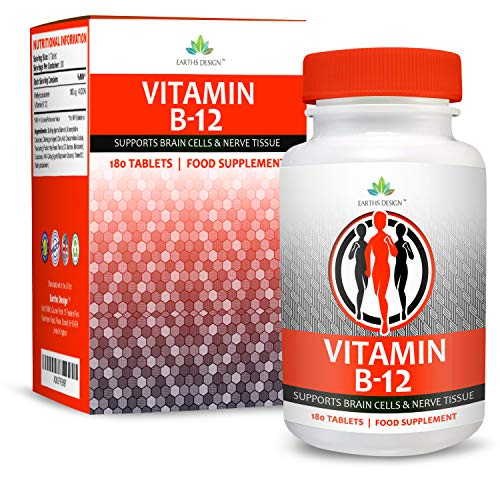 Vitamin B12 Methylcobalamin 250mcg - High Strength B-Supplement - VIT B12 - Suitable for Vegetarians - 180 Tablets (6 Months Supply) by Earths Design