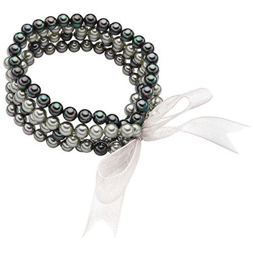 Rafaela Donata Damen-Perlenarmband Muschelkernperle hellgrau grau anthrazit - Armband Muschelkernperlen Set Armbänder Perlen Schmuckset Schleifchen