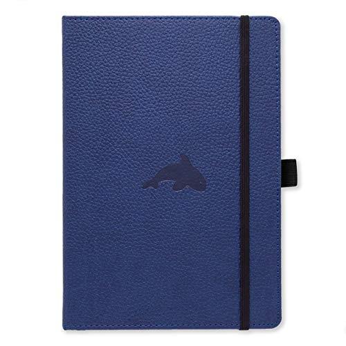 Dingbats D5104BL Wildlife A4+ Hardcover Notizbuch - PU-Leder, Mikroperforiert 100gsm Creme Seiten, Innentasche, Gummiband, Stifthalter, Lesezeichen (Gepunktet, Blauwal)
