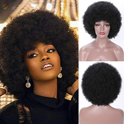 XINRAN 8 Inches Short Afro Wigs for Black Women, Large Synthetic Black Short Afro Wig, 70s Afro Wig for Women Bouncy and Soft Natural Looking(Black).