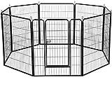 Dawoo Recinzione Metallica per Animali Domestici Pieghevole 8 Pezzi (80X80CM Nero)