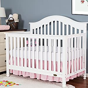 """crib bedding and baby bedding tillyou crib bed skirt dust ruffle, 100% natural cotton, nursery crib toddler bedding skirt for baby boys or girls, 14"""" drop light pink"""