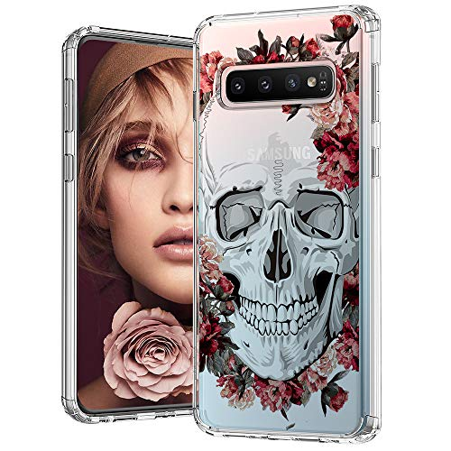 MOSNOVO Galaxy S10 Plus Case, Cool Floral Skull Flower Pattern Clear Design Printed Transparent Plastic Back Phone Case with TPU Bumper Protective Case Cover for Samsung Galaxy S10 Plus