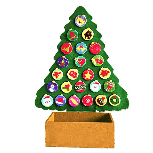 Aimik DIY Christmas Tree Set, Xmas Gifts for Kids with 24pcs New Year Handmade Christmas Home Decorations Felt Tree Detachable Ornaments for Kids Countdown to Christmas Calendar (Multicolor)