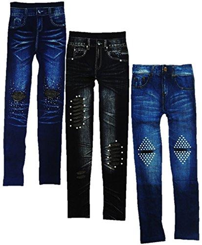 Unbekannt 3er Pack Jeans Optik Leggings mit Perlen und Cut Outs Damen Größe XS-M