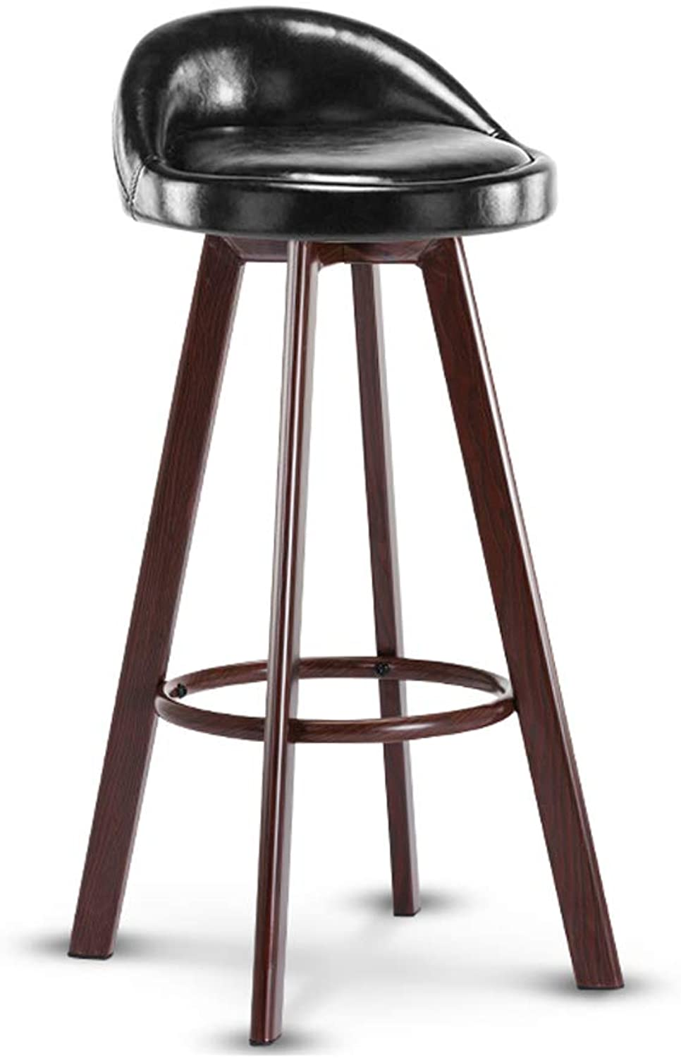 Bar Stool High Stool Kitchen Chair Curved Seat Bar Chair,Oil Wax Leather Iron Chair Legs, for Counter Cafe Kitchen Breakfast Pub,3 colors