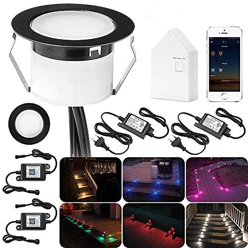 Juego de 60 focos LED empotrables con Bluetooth RGBW, empotrables en el suelo para exteriores, 1 W, diámetro de 45 mm, IP67, resistente al agua, para terraza, jardín, kit completo, color negro