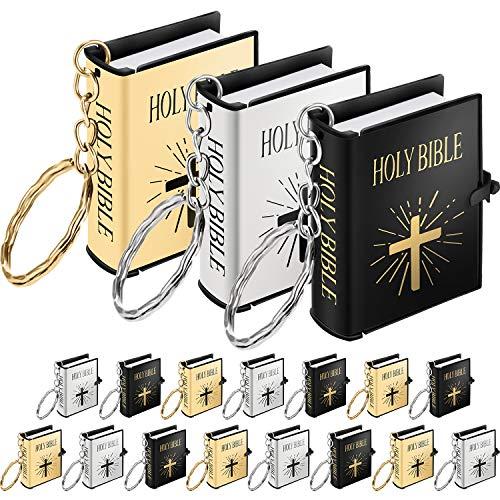 18 Stück Mini Buch Schlüsselbund Miniatur Buch Schlüsselring für Kirchen Souvenir Geschenke