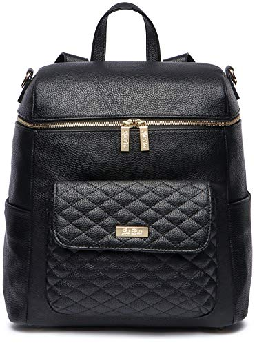 Monaco Diaper Bag Backpack by Luli Bebe - Chic Vegan Leather Diaper Bag Backpack with Large Luxury Quilted Gender Neutral Design, Stroller Straps, Changing Mat (Ebony Black)