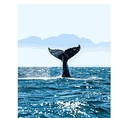 Sea Whale Oil Paint Gemälde nach Zahlen Diy Bild Zeichnung Färbung auf Leinwand Gemälde von Hand Wandfarbe nach Zahlen Tier Weihnachtswand Kunstwerk Home Wohnzimmer Büro Landschaft Malerei Weiß-1