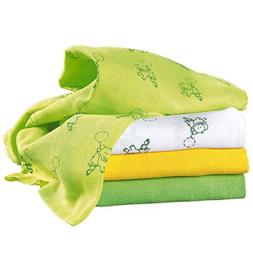 Bornino Le lot de 4 langes 80 x 80 cm couche en tissu, blanc/jaune/vert