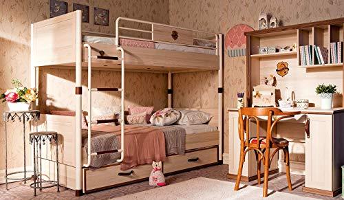 árbol de–Dormitorio completa para niño O Niño–Incluye: litera con elaborado Retráctil, tres colchones, dos mantas, Escritorio y Pared estudio–[Serie: dafne-reale]–(Df11)