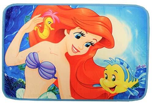 Verschiedene Tapis de Bain Divers thèmes de Films et de télévision, Spider-Man, Voitures, Ariel la sirène, Frozen, Mickey Mouse, Minnie Mouse, Tapis de Bain 40 x 60 cm pour Enfants (Ariel)