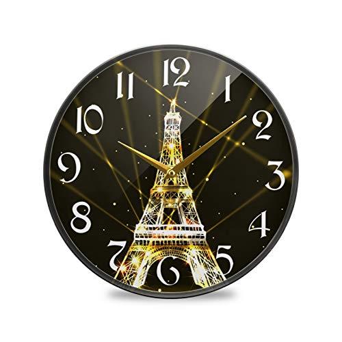 ART VVIES Reloj de Pared Redondo de 9,5 Pulgadas, silencioso, Funciona con Pilas, para Oficina, Cocina, Dormitorio, decoración para el hogar, Torre Eiffel, Fuegos Dorados, Shinestar Sky