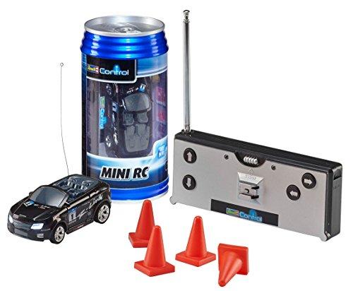 Revell Control 23535 - Mini RC Car in Dosenverpackung, Verpackung ähnelt einer Cola-Dose, kleines ferngesteuertes RC Auto, 40 MHz-Fernsteuerung mit Ladefunktion, Pylonen - Cabrio in schwarz