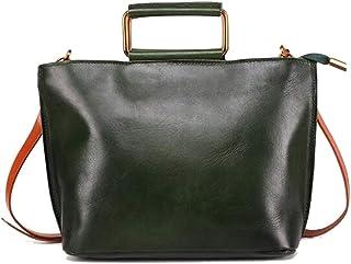 Khouses Women's large-capacity handbag multi-function retro one-shoulder fashion casual Messenger bag (Color : Green, Size : 18 * 27 * 10cm)