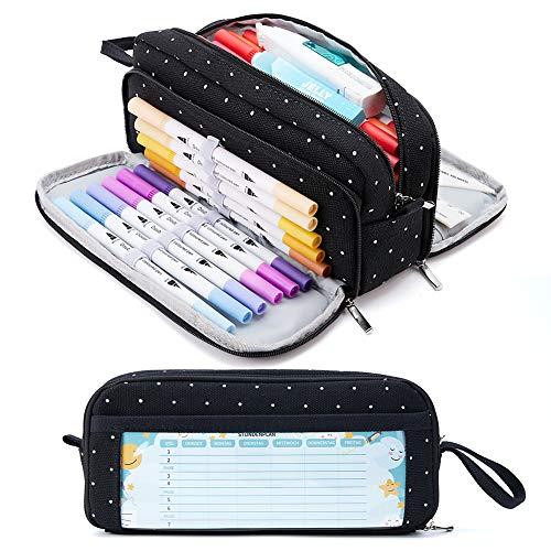 KALIDI Federmäppchen mit 3 Fächer Große Kapazität Mäppchen Federtasche Stiftetasche Pencil Case Bleistifttasche für Schule & Büro
