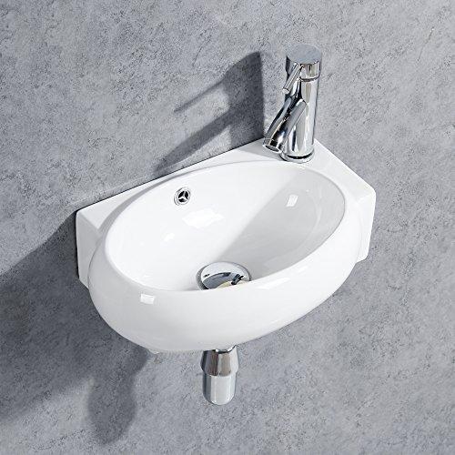 Gimify Mini Lavandino da Parete Piccolo Lavello per Bagno con Bacinella (Ovale 420 * 280 * 145mm)