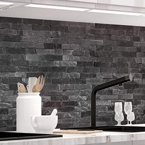 Küchenrückwand 1,5mm selbstklebend - STEINWAND LUXURY - Hartkunststoff, alle Untergründe möglich, Spritzschutz, PREMIUM 60 x 220cm