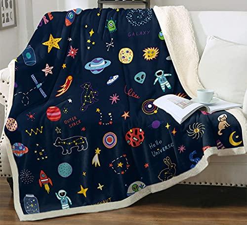 Space Adventure Rocket Astronaut Planet Manta Manta de franela suave y ligera para bebé niños jóvenes adultos (127 x 152 cm)