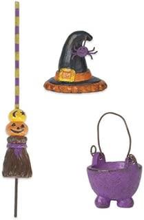 Fairy Garden Witch Cauldron Broom Hat 3pc Halloween Decor Ornament #AG01