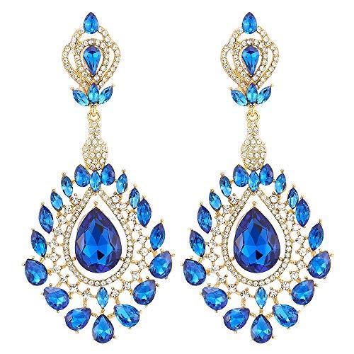Vittoriano Marquise Goccia Blu Cristallo Strass Cluster Fiore Chandelier Lampadario Grande Oro Statement Orecchini
