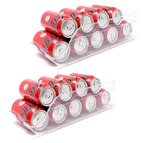 QILZO Juego de 2 Cajas de almacenaje para Nevera y congelador Organizador de latas para frigorífico 35x14.5x10cm Organizador nevera transparente Envases de plástico...