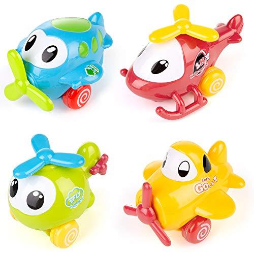 Comius Sharp Toy Kampfjets 4 Stück Flugzeug Spielzeug für Kleinkinder,Mini Friction Powered Flugzeug Spielzeug für 1 2 3 Jahre alt Kinder Jungen Geschenk.