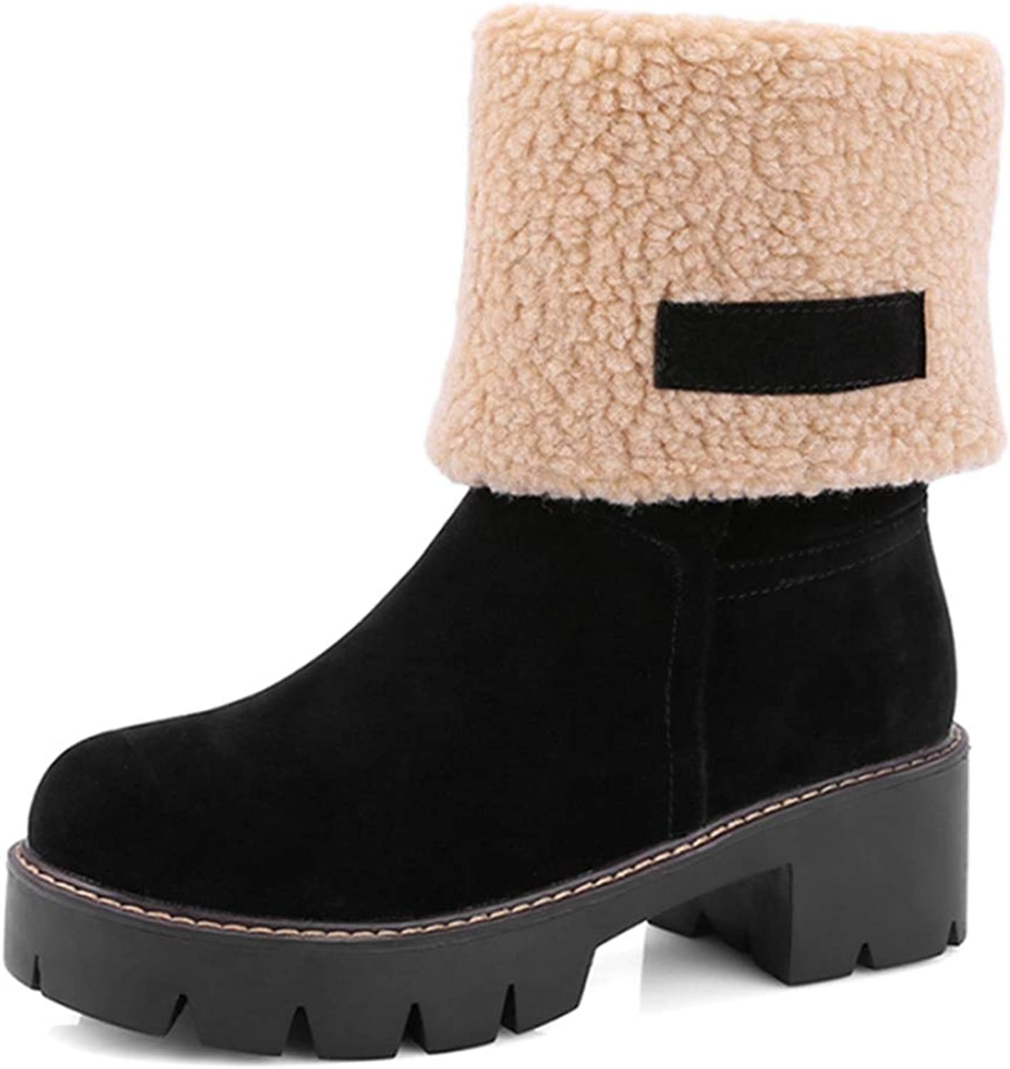 Fay Waters Women's Cute Warm Short Boots Suede Chunky Mid Heel Round Toe Winter Snow Ankle Booties