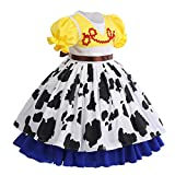 Toy Story Cowgirl Jessie Halloween Princess Costumes for Baby Girls Kids Holiday Birthday Cosplay Outfit Cloak Fairy Tale Fancy Dress Up Dance Gown Role Play Pretend Clothing Set Yellow 3-4 Years