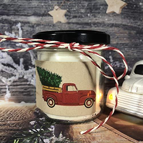 Autoveicoli natalizi – Candela in cera di soia e oli essenziali con stoppino in legno – Regalo di Natale – Decorazione casa – Buon Natale