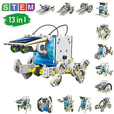 STEM Toys Solar Power kits - Educational Solar Robot Kids Toys 13-in-1 Construction Engineering Kit Puzzle DIY Assembly Battery Operated Robotic Set Powered by Solar energy for Boys /girls gift kits