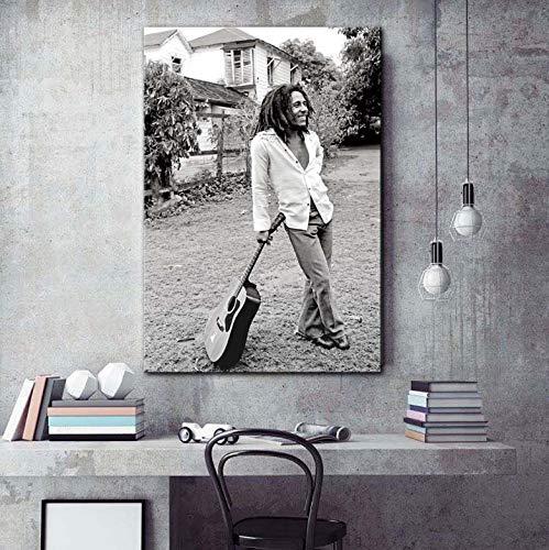 Moderne Malerei Bob Marley Schwarzweißbilder Leinwand Kunstdruck Wohnzimmer Große Wandkunst Dekor 40X60 cm Ohne Rahmen