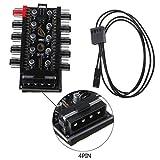 Abcidubxc Hub De Ventilador De 4 Pines 10 Vías De 12 V, Controlador De Velocidad, para Chasis con Conexión De Cable De Ventilador De CPU PWM