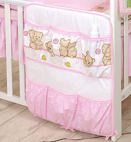 Organisateur avec 6 poches 60x70cm Lit Bébé d'enfant pour chevet Rangement (Pink Teddies/Nounours roses)