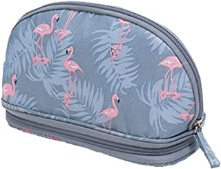 HOYOFO Small Shell Cosmetic Bag Travel Half Moon Makeup Bags Zipper Handy Organizer Pouch with Makeup Brush Holders (Blue Flamingos)