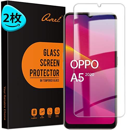 QSEEL【2枚入り】対応 OPPO A5 2020 ガラスフィルム OPPO A5 全面保護フィルム OPPO A5 2020 液晶強化ガラス【日本製素材旭硝子製】·最高硬度9H·高い光透過率·3D Touch対応·指紋防止·気泡防止·飛散防止 対応 OPPO A5 2020 液晶強化ガラス