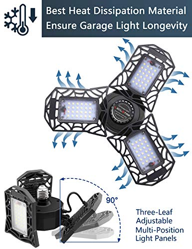 2-Pack LED Garage Lights 80W - 6000K Garage Lights Ceiling LED, 8000LM Deformable LED Garage Lighting Fixture, Shop Light with Adjustable Multi-Position Panels, LED Glow Light for Garage, Workshop 2