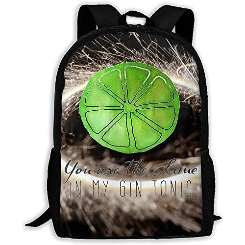 Lässige Schultasche Du bist der Kalk in Meinem Gin Tonic Zitat Rucksack Frauen 3D Print Daypacks für Männer