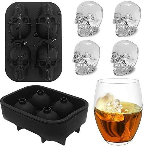 FLZONE 4 Gitter 3D Totenkopf Silikon Eiswürfelform,lustiger Eisschädel für Whiskey,Cocktails,Likör und Saft Getränke mit Mini-Trichter