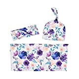 LINGZIA 3 unids/Set Manta Floral Swaddle Manta niña niños Sombrero Que recibe Manta Infantil Swaddle Wrap Diadema PZ01