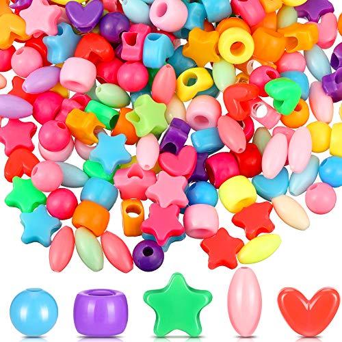 1000 Perline di Pony di Colore Mescolare Perline di Barilotto Ovale Cuore Rotondo Stella Perline con Foro Grande Perline Acriliche Multicolore Braccialetto Kawaii Arcobaleno Collana per Natale