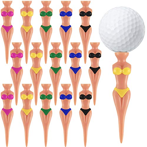 15 Divertenti Tee da Golf Tee da Golf di Donna Ragazza di Bikini Tee da Golf Pin-up in Plastica da 76 mm (3 Pollici), Tee da Golf per l'Allenamento, Accessori da Golf
