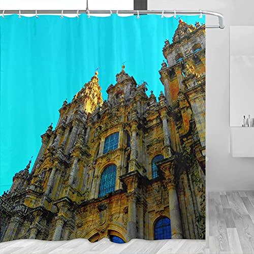 Spain Santiago De Compostela Cortina de ducha de viaje baño decoración conjunto con ganchos poliéster 72x72 pulgadas (YL-05430)