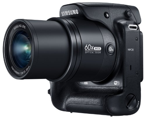 """Samsung WB2200F 16.3MP CMOS Smart WiFi & NFC Digital Camera with 60x Optical  Zoom, 3.0"""" LCD and 1080p HD Video (Black)"""