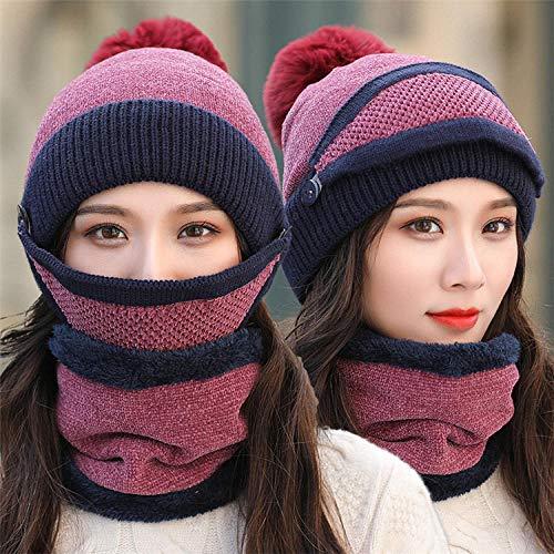 Mützen Hut Frauen Strick Skullies Hüte Weiblich Winter Samt Dick Warm Gestrickte Wolle Radkappen-Lila