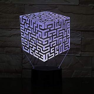 Lampara LED Cubo Laberinto Puzzle Cambia Color USB Luz Nocturna