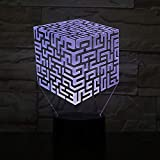 Lampara LED Cubo Laberinto Puzzle Cambia Color USB Luz Nocturna